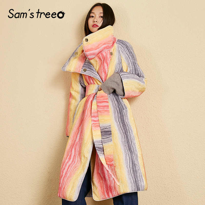 Samstree Rainbow Padded Coats Waist Belt Winter Women Long Coat Covered Button Thick Warm Female Coat Oversize