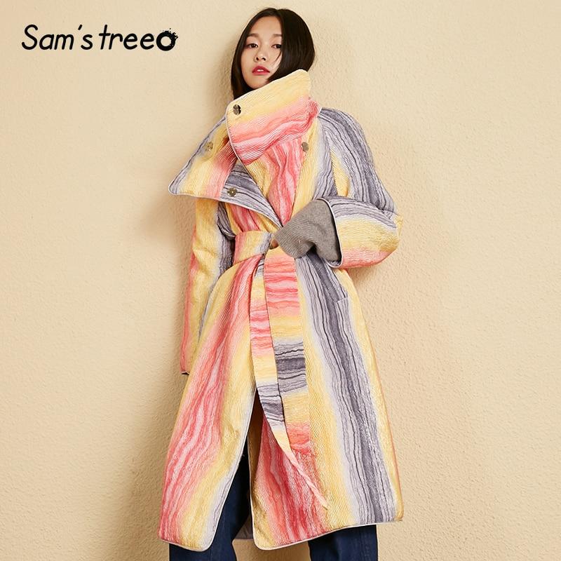 Manteau Couvert Samstree Arc Manteaux D'hiver Ceinture Bouton Épais Colour en Femmes Chaud Oversize Taille Femelle rembourré Long OPXuikZ