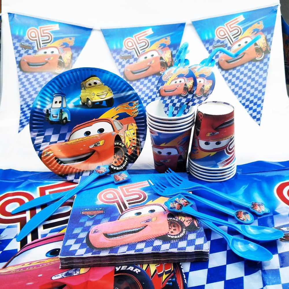 82 PC Disney Cars Lighting McQueen Perlengkapan Pesta Dekorasi Set Anak Taplak Meja Piring Ulang Tahun Baby Shower Nikmat Hadiah