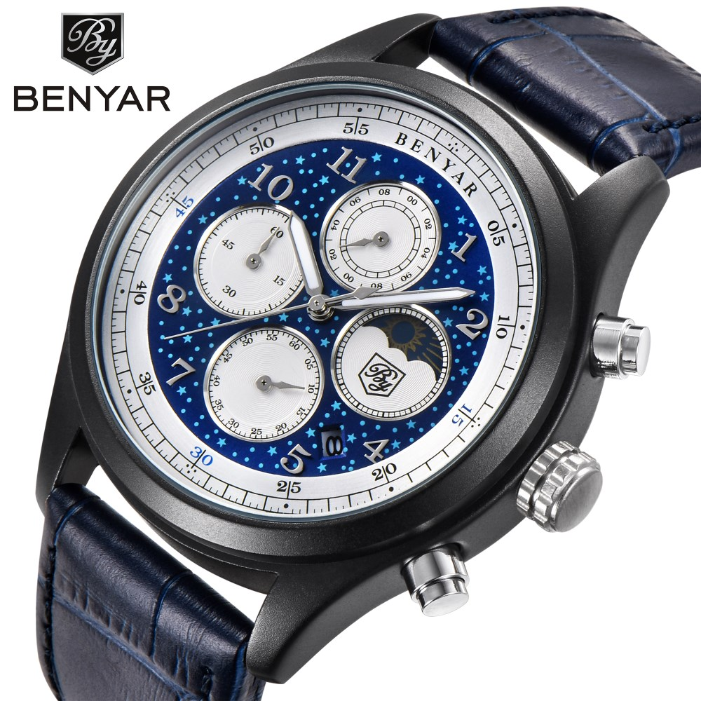 BENYAR New Fashion Mens Watches Top Brand Luxury Business Quartz Watch Men Leather Waterproof Sports Watches Relogio Masculino new listing men watch luxury brand watches quartz clock fashion leather belts watch cheap sports wristwatch relogio male gift