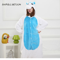 2016 Cartoon Blue Unicorn Pajama Sets Flannel Pajamas For Women Cute Animals Long Sleeved Adult Pajamas
