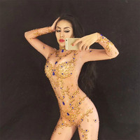 Sexy Stage Costumes for Singer Gold Queen Sparkly Crystal Rhinestone Jumpsuit Celebrate Nightclub Stage Bodysuit Customes Women