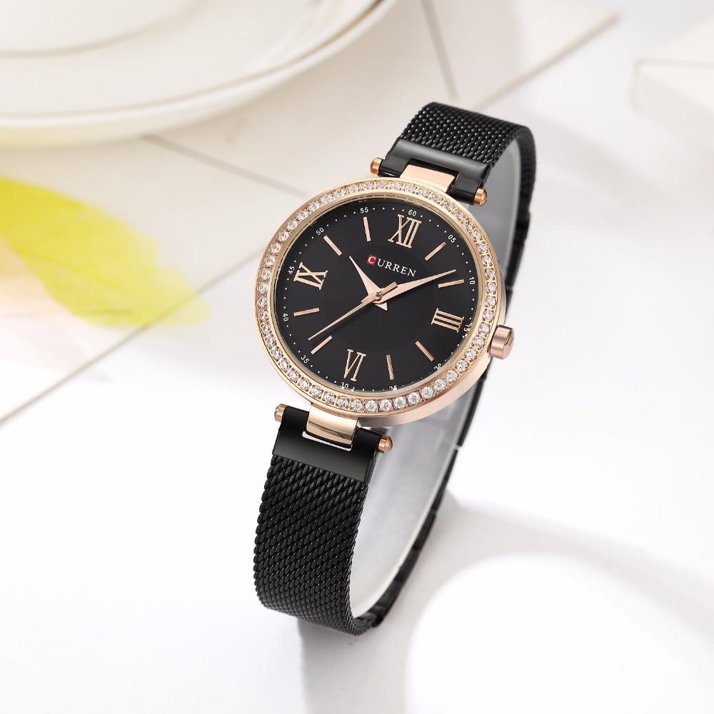 цена CURREN Women Watches Fashion Luxury Stainless Steel Strap Relogio Feminino Quartz Wristwatch Rose Gold Ladies Watch Montre Femme