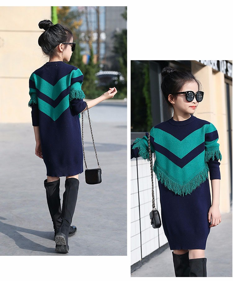 2017 new knitting tassels girls sweater spring autumn winter casual children school clothing preppy style knitted kids sweaters girls dresses 6 7 8 9 10 11 12 13 14 15 16 years old little teenage big girls long sweater dress (6)