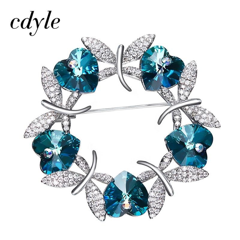 Cdyle Crystals From Swarovski Brooches Women Austrian Rhinestone Fashion Jewelry Elegant Luxury Blue Purple Butterfly Christmas