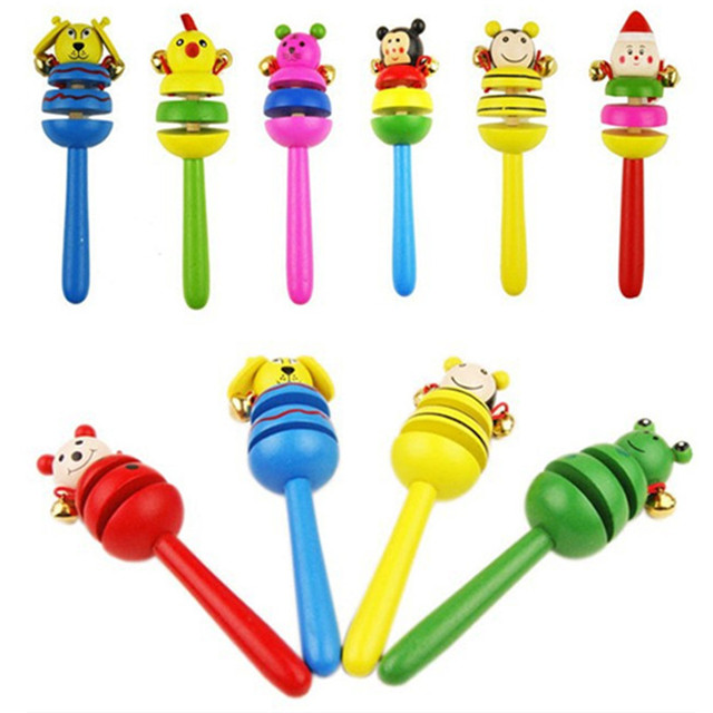 16CM Colorful Wooden Rattle Children Toys Random Color Bell Shaker Stick Toy Cartoon Animal Baby Children's Educational Toys P0 1