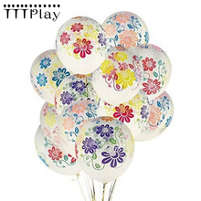 10PCS 12 Inch 2.8g Transparent Peony Flower Latex Balloons Inflatable Clear Air Balls Wedding Decoration Birthday Party Balloons