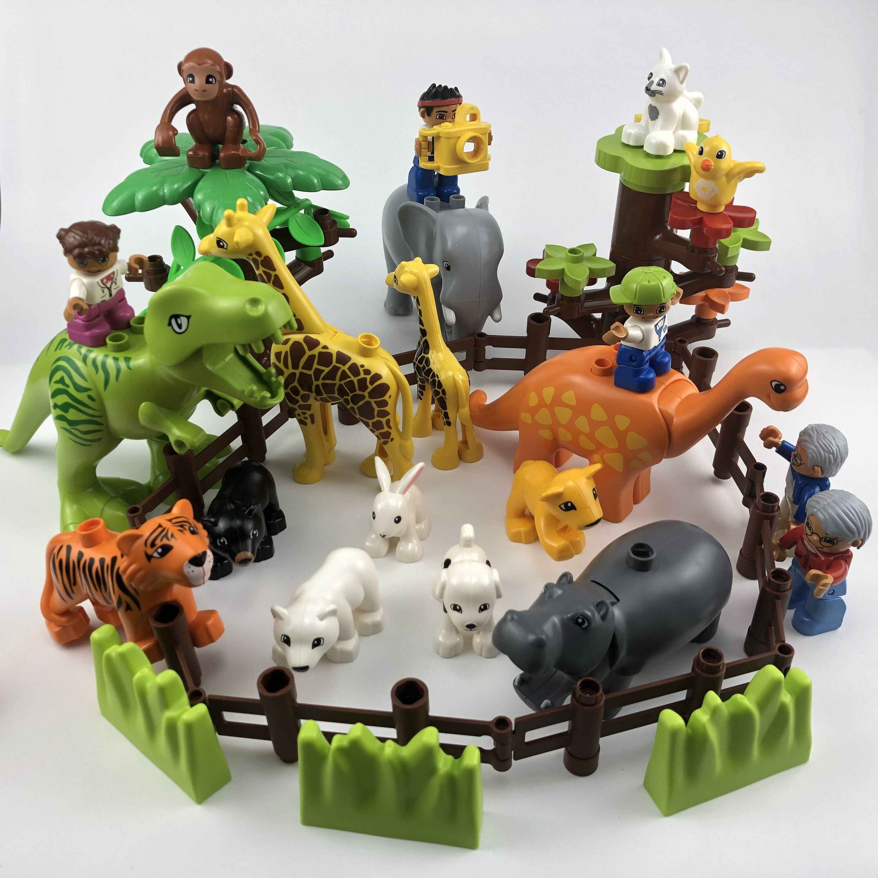 Legoing Duplo Animals Zoo Sheep Monkey Dog Beer Rabbit Bird Building Blocks Toys for Children Compatible Duplo Legoing Figures