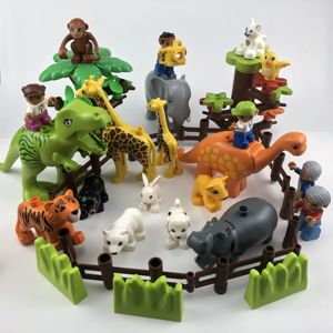 Locking Duplo Animals Zoo Sheep Monkey Dog Beer Rabbit Bird Building Blocks Toys for Children Compatible Duplo Locking Figures