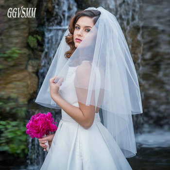 a201a519a De moda blanco velo corto velo de tul de novia de velos de boda hecho a