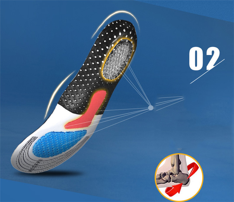 Plus Size Silicone Arched Insoles Multi-Sport Orthotic Insole Comfort Sweat Deodorant Massage Shock Absorber Basketball Insoles (15)