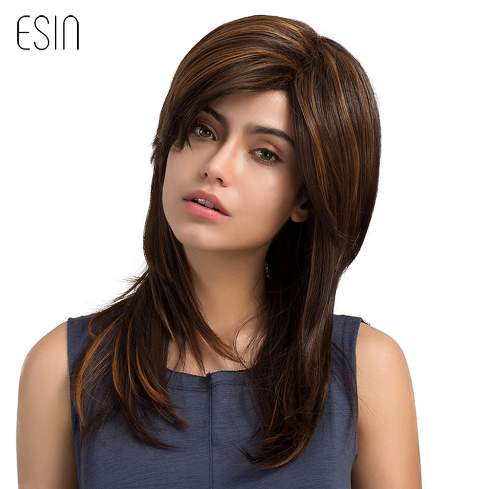 Esin 24 Long Layered Natural Wave Wig Women Highlights Synthetic Wigs with Bangs Left Si ...