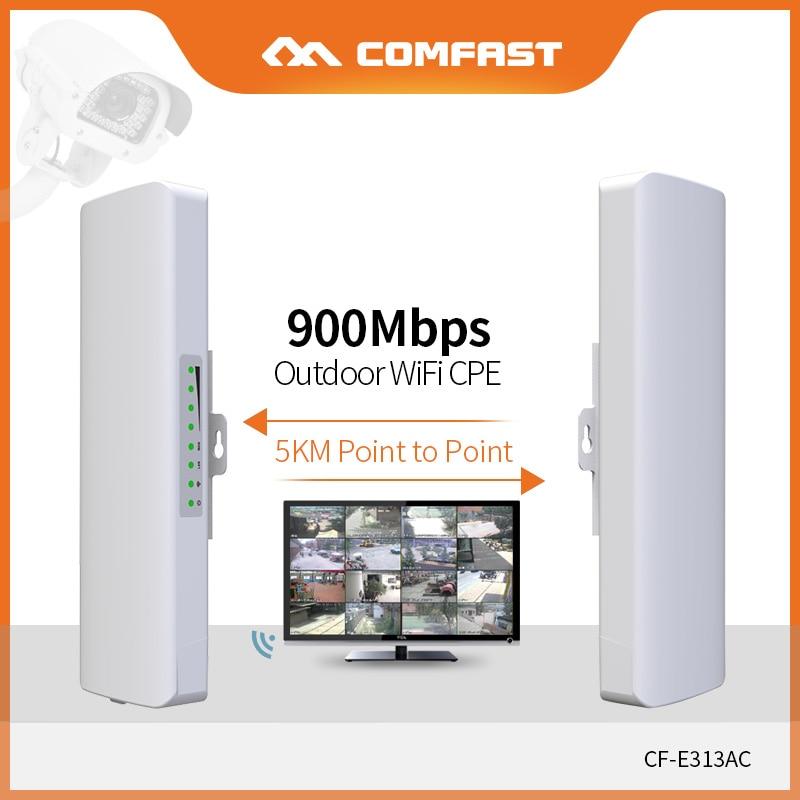 COMFAST 2 pièces longue portée 5KM extérieur Mini sans fil AP pont 900Mbps 5.8Ghz WIFI CPE 12dBi WIFI antenne Nanostation CF-E313AC