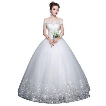 Wedding Dress 2018 New Mrs Win Cheap Boat Neck Ball Gown Off The Shoulder Princess Wedding Dresses Plus Size Vestido De Noiva F 5