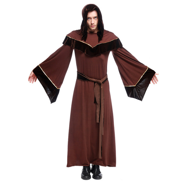 114eaa48ad Medieval Renaissance Gothic Wizard Costume Hooded Robe Cloak Europe Friar  Priest Costume Halloween Carnival Costume Cosplay Men