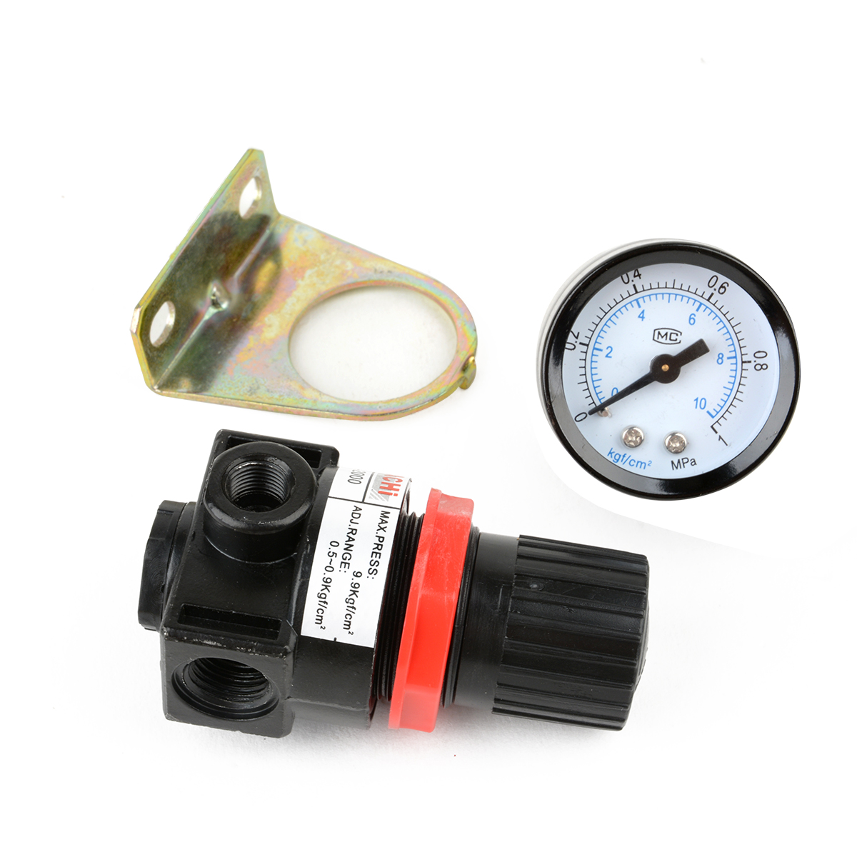 1pc Air Control Pressure Gauge Compressor Relief Regulator Regulating Valve Mayitr Pneumatic Components Parts 75*40*40mm 180psi air compressor pressure valve switch manifold relief gauges regulator set