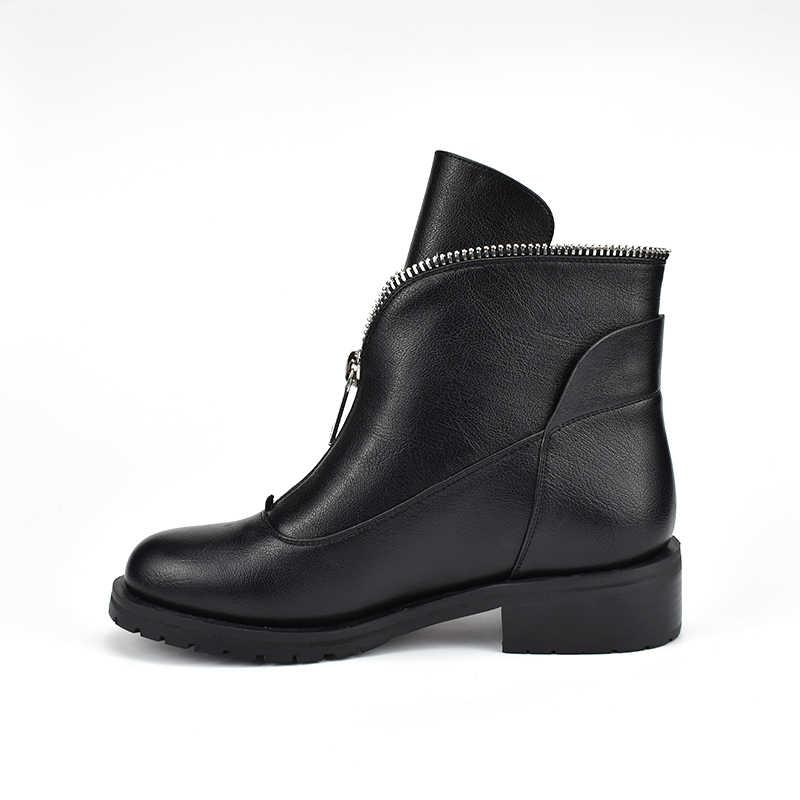 2019 New Fashion Hoge Kwaliteit Vrouwen Comfortabele Chunky Hakken Rits Enkellaars Ronde Neus Schoenen Herfst Winter Plus Size 42