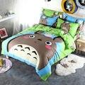 Marca Gris totoro cartoon kids bedding set 3/4 unids 100% algodón duvet cover set hoja de cama colcha de lino ropa de cama set funda de almohada
