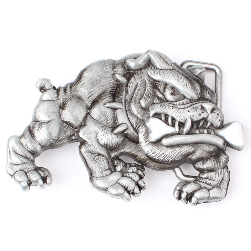 Bulldog Belt Buckle Dog Bite Bone Metal Smooth Buckle