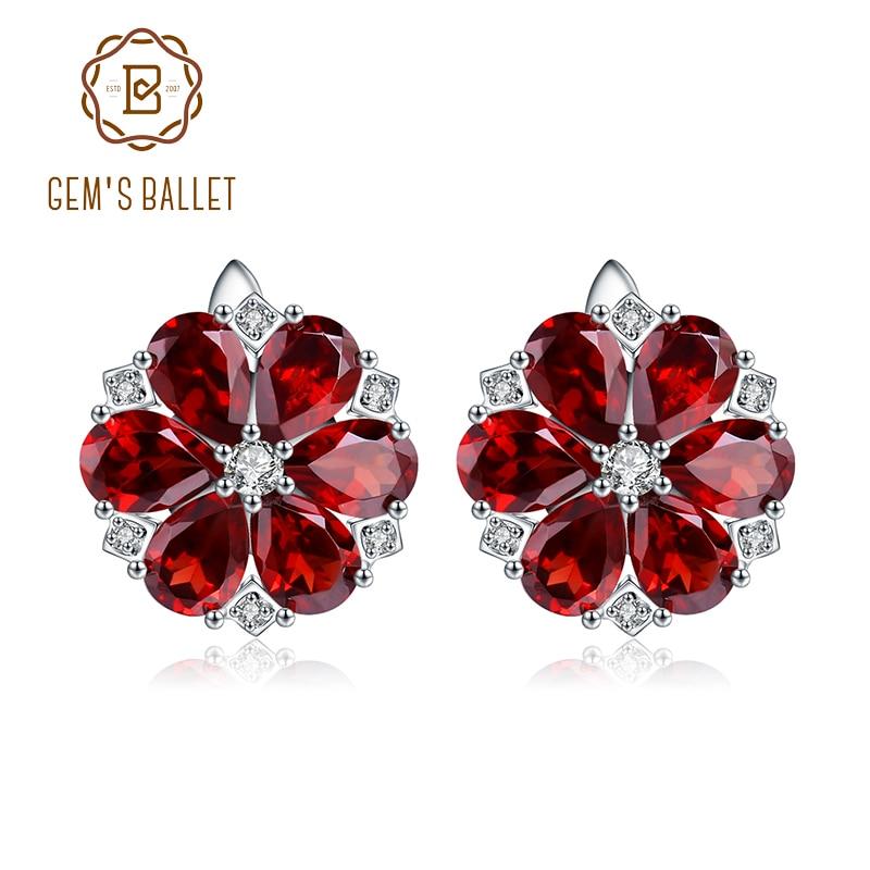 GEM S BALLET 10 1Ct Natural Red Garnet Earrings 925 Sterling Silver Gemstone Vintage Flower Stud