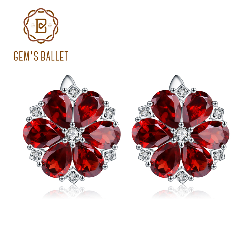 Red Garnet Earrings 925 Sterling