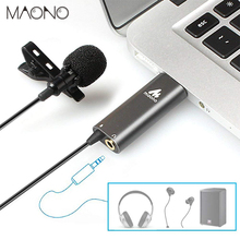 ФОТО maono usb lavalier microphone omnidirectional condenser lapel mic hands free shirt collar clip-on microphone for live broadcast