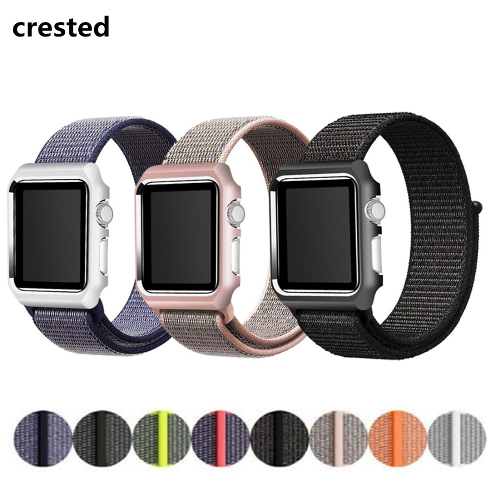 CRESTED Sport Loop Band for Apple Watch 42mm 38mm iWatch band wrist band Bracelet Lightweight Breathable Nylon strap belt case