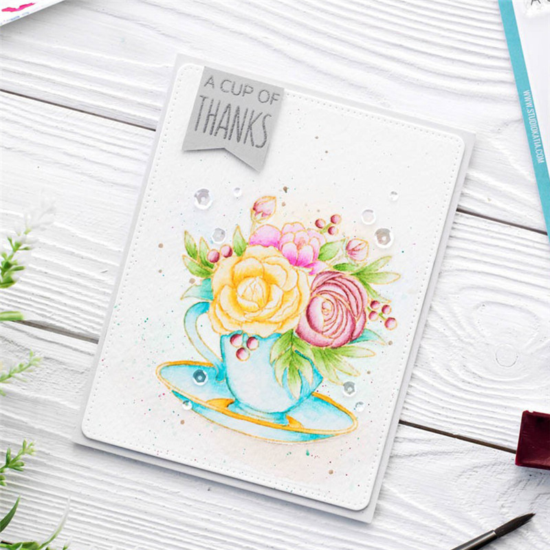 Eastshape Flower Clear Stamps and Dies Scrapbooking Letter Crafts Cup Word Tea Thanks Die Cut for Card Making Metal Cutting Dies in Cutting Dies from Home Garden