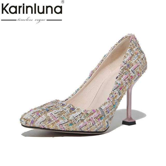 KarinLuna Women s Strange Thin High Heels Party Wedding Shoes Woman Pointed  Toe Less Platform Pumps Big Size 32-48 9a4f53a28495