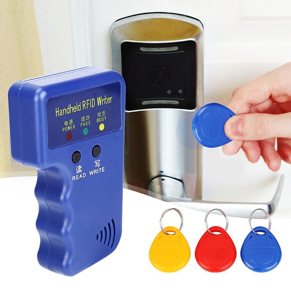 Handheld 125KHz RFID Duplicator Copier Writer Programmer Reader+EM4305 Rewritable ID Keyfobs Tags Cards