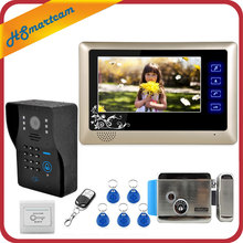 "New Wired 7"" Video Door Phone Intercom System RFID Keypad Code Number Doorbell Camera Monitor Wireless unlocks + Electric Lock"