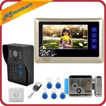 """Nuovo videocitofono cablato da 7 """"videocitofono RFID numero codice tastiera campanello Monitor telecamera sblocco Wireless + serratura elettrica"""
