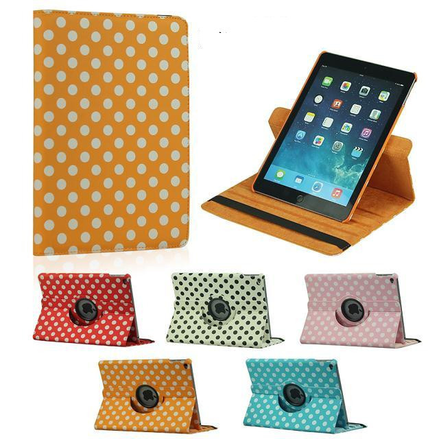 360 Rotation PU Leather case For Apple ipad 6 air2 Smart cover For  ipad6 ipad air 2 flip Polka Dot cases чехол для планшета for apple ipad air 2 ipad 6 360 apple ipad 2 ipad 6 ipa6 016