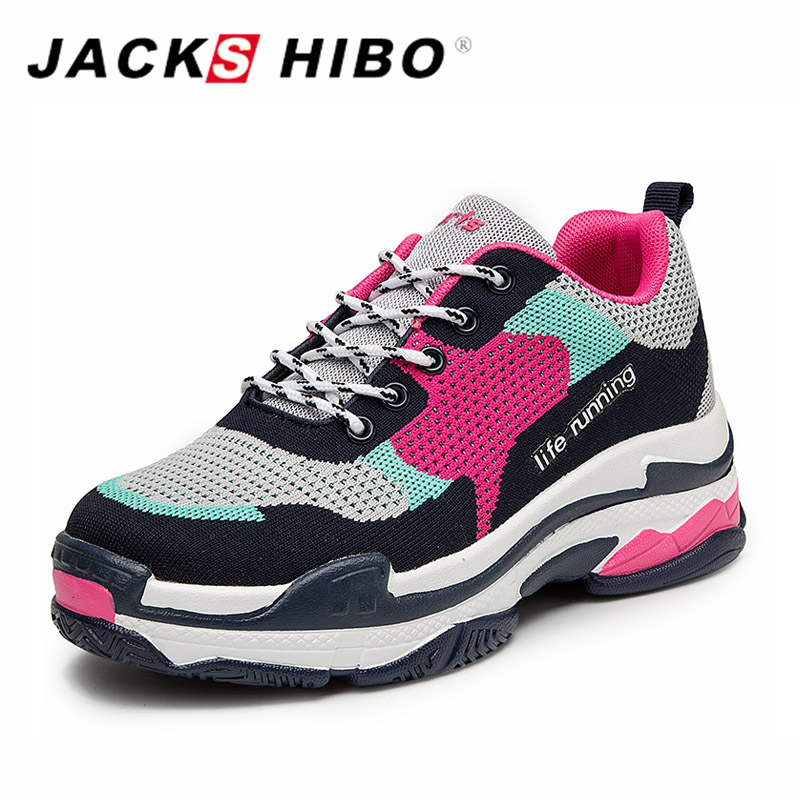 JACKSHIBO Womens Sneakers Retro Patchwork Female Casual Shoes Thick Soled Increase Height Woman Platform Shoes Zapatos Mujer