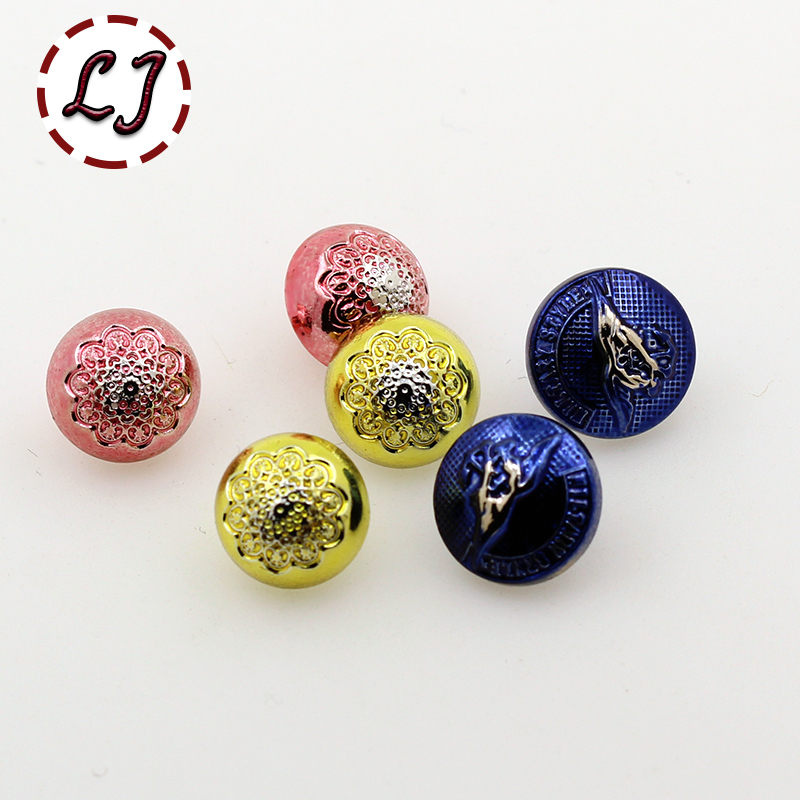 2017 new 30pcs/lot 11mm 12mm plating buttons color round plastic button clothing sewing accessories scrapbook