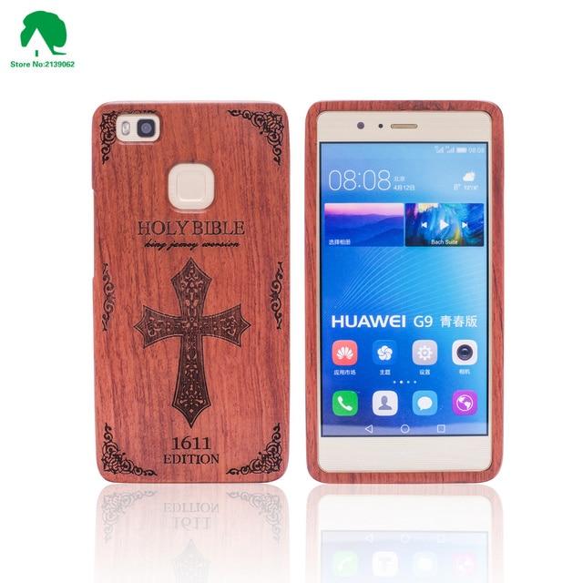 100% original wood case para huawei ascend p9 lite con 3d patrones tallados de madera case para huawei ascend p9 lite con el envío regalo