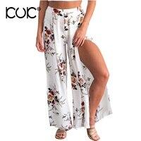 Kuk High Waist Wide Leg Pants Women Floral Elastic Female Summer Trousers Side Split Beach Boho