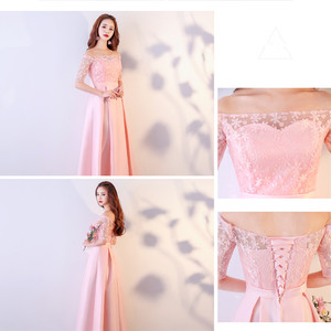 Image 5 - XBQS1107#Lace up Peach pink styles of long medium and short Bridesmaid Dresses wedding party prom dress 2019 wholesale clothing