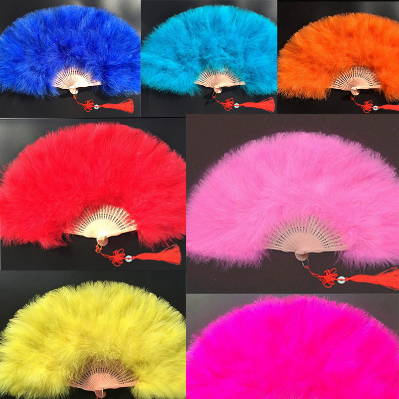 Fluffy Large Turkey Feather Hand Fan Ladies Holding Dance Props Goose Feather Fans Party Wedding Home Decorative Handmade Fans
