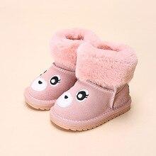 Милый медведь для девочек зимняя обувь с мехом Зимние сапоги для малышей для маленьких девочек зимние ботинки для маленьких девочек зимняя обувь Size14-30