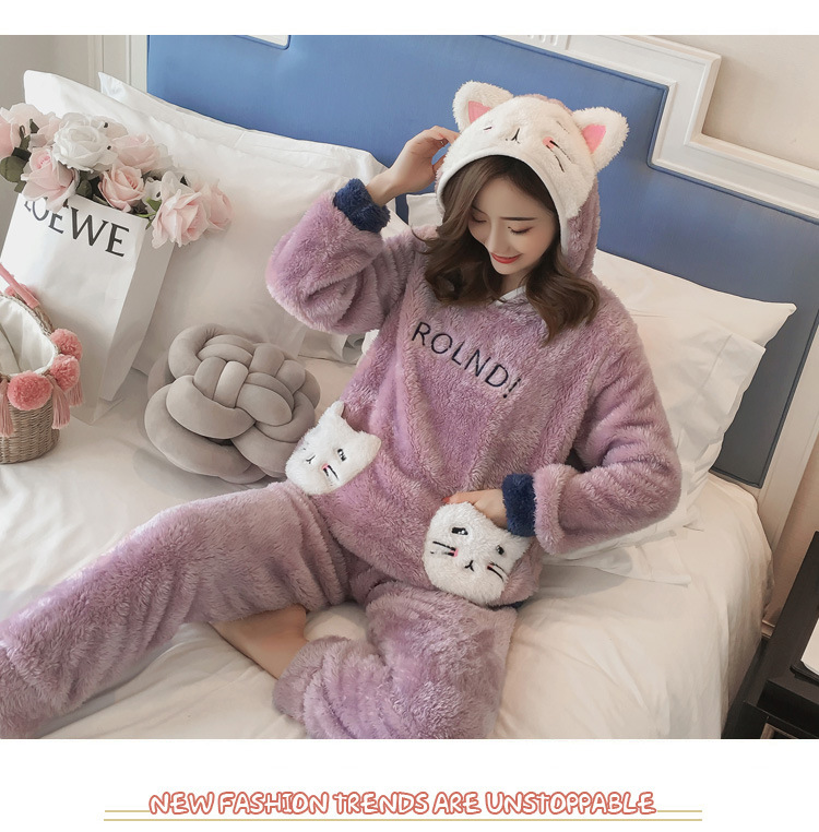 Winter Women Pajama Flannel Sleepwear Long Sleeves Hot Pajamas For Women Velvet Pajama Women Soft Clothing 98
