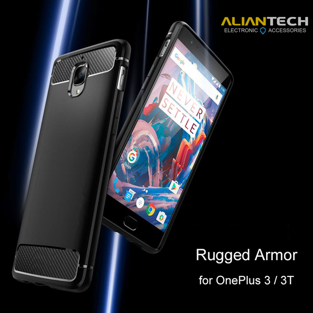 Aliantech oneplus 3 case oneplus 3 t case rugged armorプレミアム柔軟なtpu炭素繊維テクスチャmil-std電話ケースcapa fundas