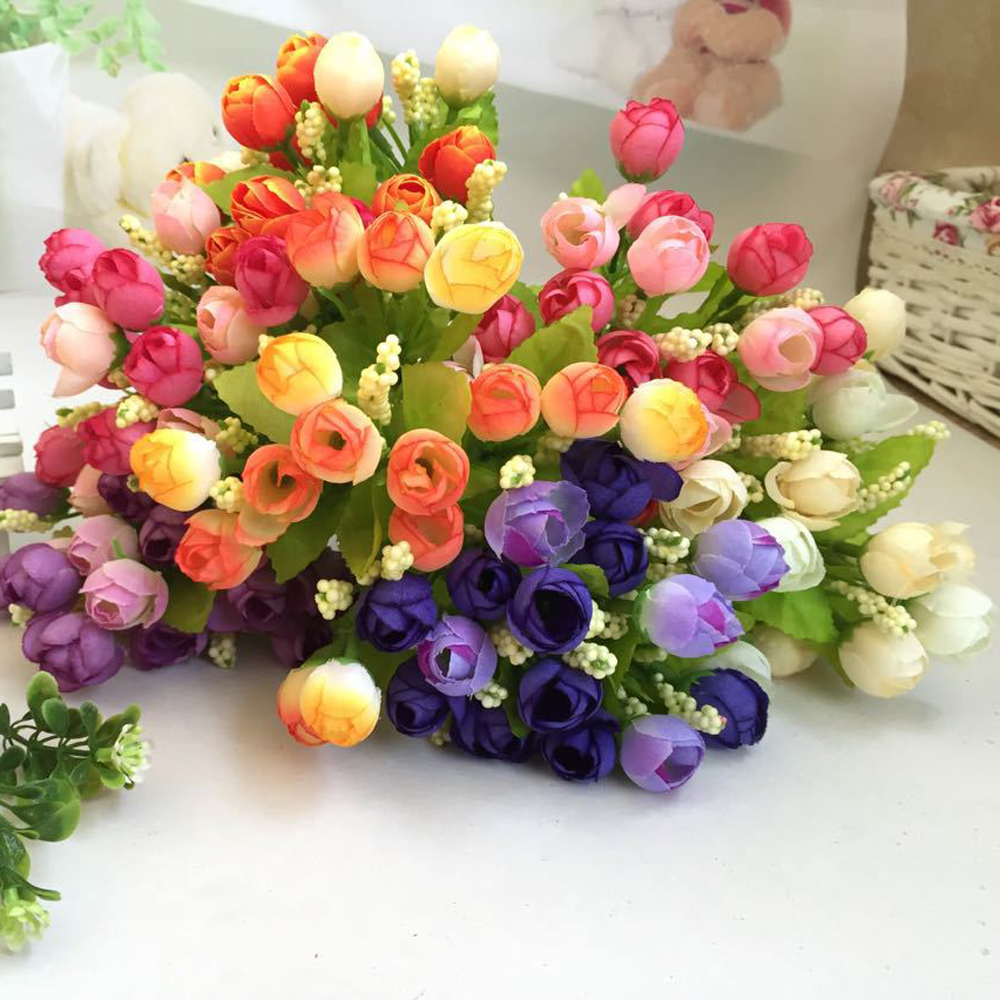 Lovely pet hot selling 15 Heads Unusual Artificial Rose Silk Fake Flower Leaf Home Decor Bridal