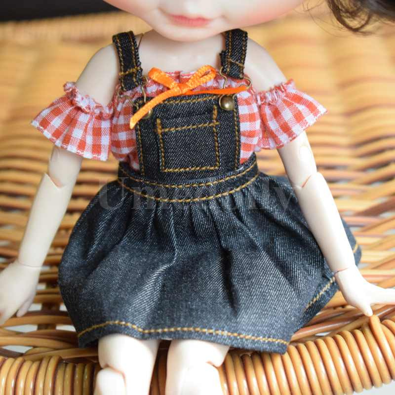 1PCS High Quality 1/6 Blyth Doll Strap Dress Tops Overalls For Neoblythe, Licca, Azone, Barbies Doll Clothes Accessories