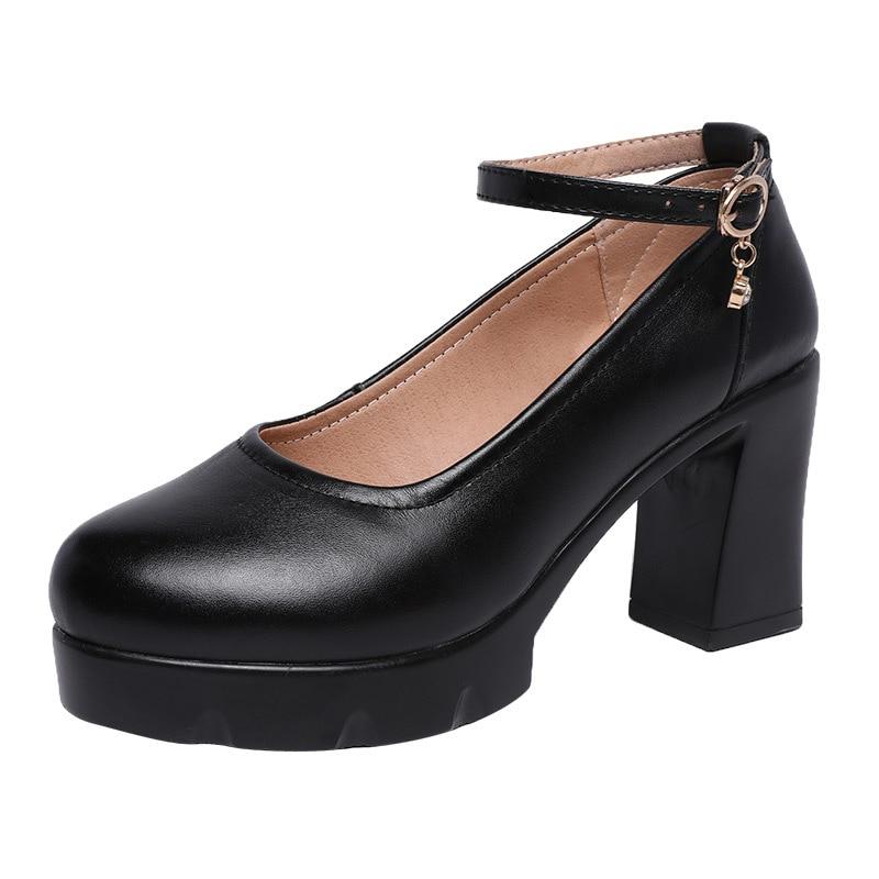Femmes 2019 Printemps Cheville À Pompes Hauts Dames Classique Talons Automne Tête Plate Ronde Chaussures Bureau forme Noir Bloc Boucle WvgWz6Xq