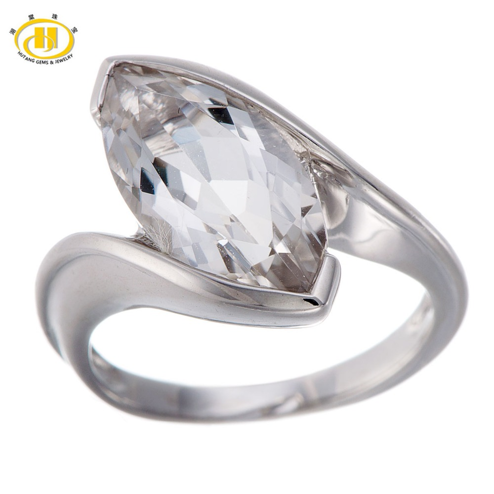 Hutang Marquise Cut White Topaz Solid 925 Sterling Silver Ring for Women Fine Jewelry Brand New HuTang