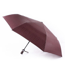 Gentlemen Three Folding Umbrella Compact Fully Automatic Large Size Imitation Leather High Quality Winfproof Strong Umbrellas