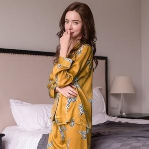 Image 3 - ファッション本物のシルクの女性のパジャマゼブラプリント長袖パジャマ長ズボンセット 100% カイコシルクパジャマ女性 t8143