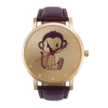 Mance cartoon watch 2016 new brand watch women luxury watch Fashion Monkey Pattern Leather Band Analog Quartz Vogue Wristwatches analog watch