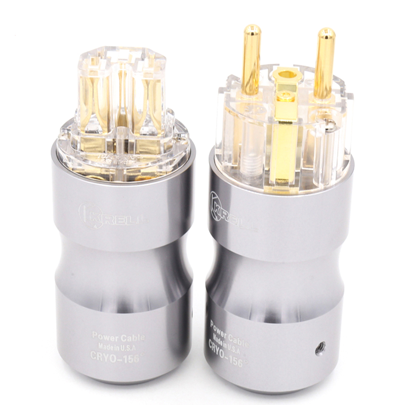 1 pair Hifi audio 24K Gold plated Transparent EU Schuko  power plug Audio power plug HIFI Power supply socket-in Plug & Connectors from Consumer Electronics